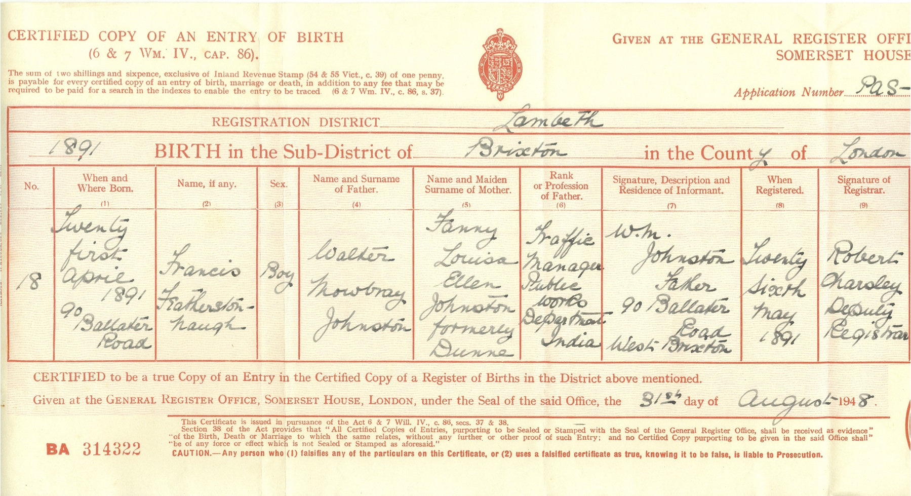 certified copy of an entry of birth application number