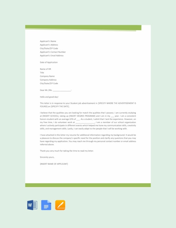free template for job application letter
