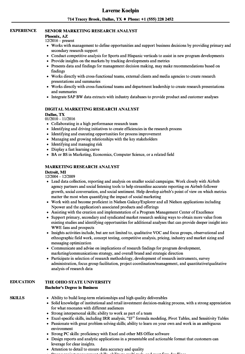applications for market research analyst
