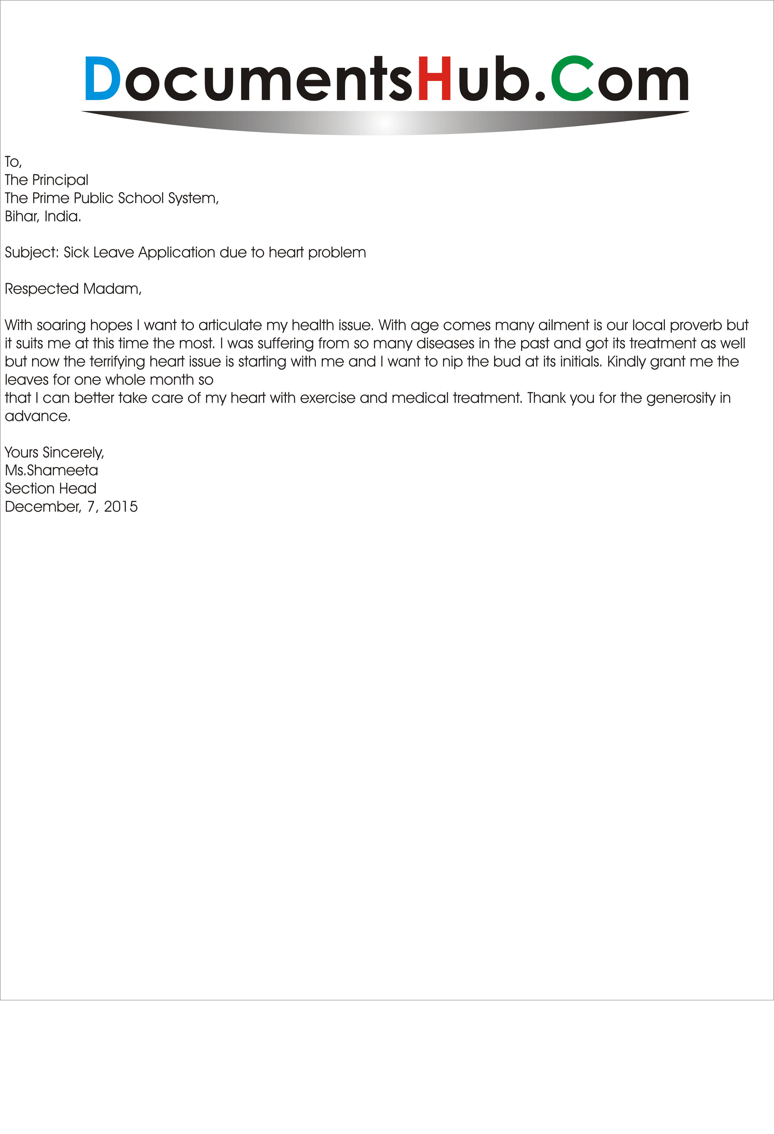 application to principal after leave