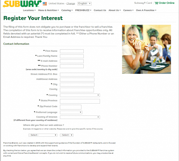 subway application response for franchise application