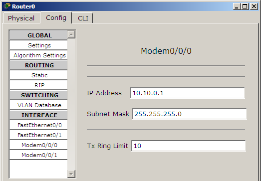 terminal application not working in packet tracer